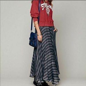 FREE PEOPLE Gauzy Plaid Blue Grey Maxi Skirt